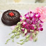 6 purple orchids with a delicious 500gm truffle cake