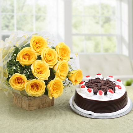 combo cake and flower yellow rose