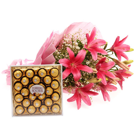 Ferrero Rocher chocolates with 6 Pink Asiatic Lilies