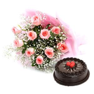 pink rose and cake