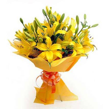 yellow lilies bunch