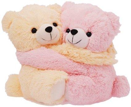 two teddy bears flower n petals