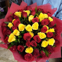 Red and Yellow Rose Bunch