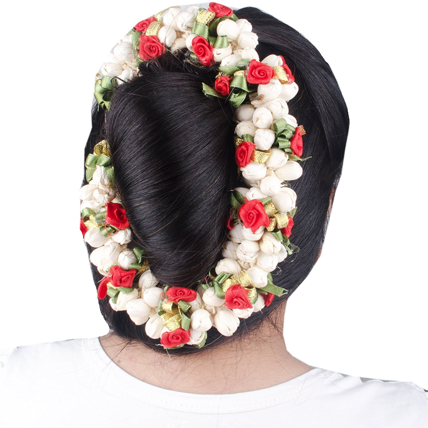 Fresh jasmine flowers for hair best image of flower mojoimage fresh jasmine gajra roses blue orchid mogra tiara izmirmasajfo