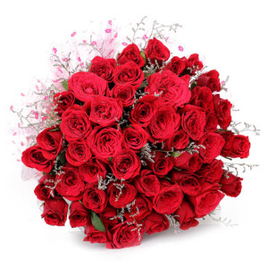 50 Red Roses hand bunch