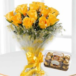12 Yellow Roses Bunch, 16 Ferrrero Rocher chocolate