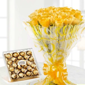20 Yellow Roses Bunch and box of 24 Ferrrero Rocher
