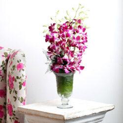 10 Purple Orchids 1 Glass Vase