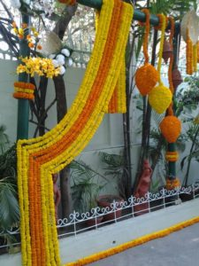 marigold Mala flower decorations, genda flower Mala Decoration, Marigold Genda Ladi Chain Decoration
