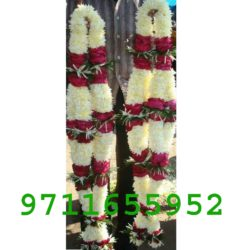 Simple red n white flower jaimala garland Varmala for Marriage, white and red roses jaimala for wedding or wedding anniversary