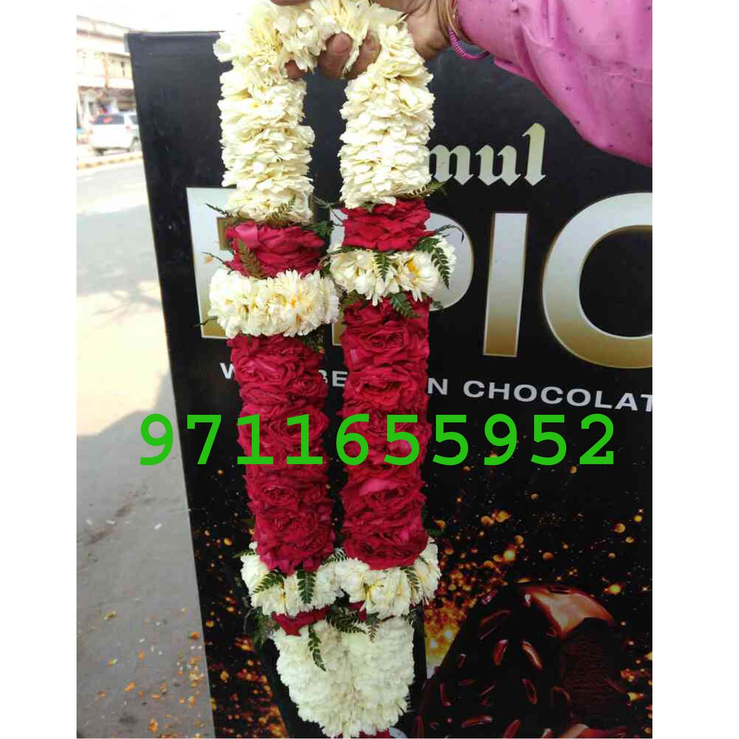 Red And White flower Jaimala Garland