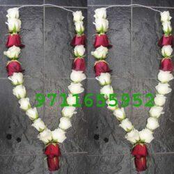 , wedding red and white jaimala haar for anniversary, jaimla price online, buy red roes jaimala online